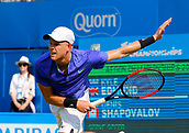 June 19th 2017, Queens Club, West Kensington, London; Aegon Tennis Championships, Day 1; Kyle Edmund (GBR) serves during his 1st round singles match against Denis Shapovalov (CAN)