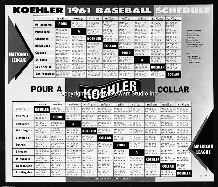 Erie Brewing Company 1961:  Koehler Advertisement for Major League Baseball.  Advertisement was completed for Koehler's Pittsburgh Advertising Agency; Lando Inc.  Lando Inc owned and was located in the same building as Brady Stewart Studio - 725 Liberty Avenue in downtown Pittsburgh.