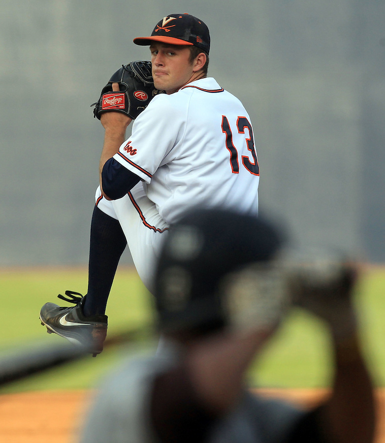 Virginia pitcher Alec Bettinger (13) prepares to throw the ball during the game Tuesday night against VCU at Davenport Stadium in Charlottesville, VA. Photo/The Daily Progress/Andrew Shurtleff