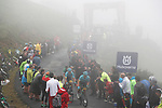 Astana riders Laurens De Vreese (BEL), Luis Leon Sanchez (ESP) and Fabio Aru (ITA) climb through the fog during Stage 17 of the 2017 La Vuelta, running 180.5km from Villadiego to Los Machucos. Monumento Vaca Pasiega, Spain. 6th September 2017.<br /> Picture: Unipublic/&copy;photogomezsport | Cyclefile<br /> <br /> <br /> All photos usage must carry mandatory copyright credit (&copy; Cyclefile | Unipublic/&copy;photogomezsport)