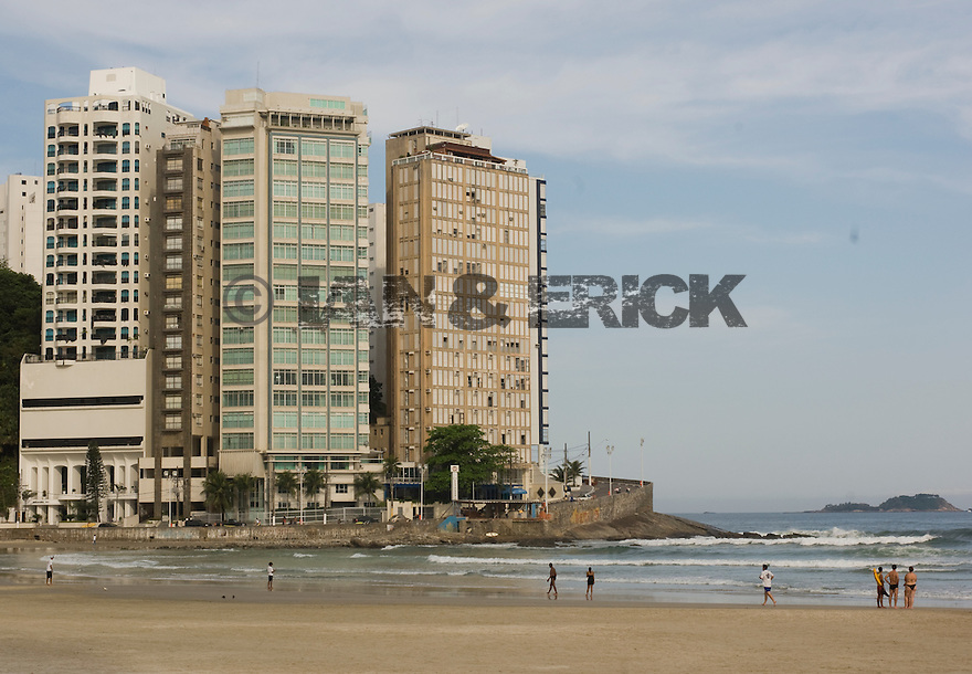 Building and hotels facing the main beach in Guaruja, Brazil.