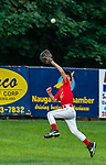NAUGATUCK , CT-073120JS08—Peter J. Foley Cardinals' Quinn Calvert (2) tries to run down a fly ball hit by  Union City Blue Jays's Eliyas Smalls (2)  during their Little League game at Peter J. Foley field in Naugatuck on Friday. The ball got over Calvert's head and Smalls got a double on the play. <br /> Jim Shannon Republican-American