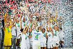 01.05.2019, RheinEnergie Stadion , Köln, GER, DFB Pokalfinale der Frauen, VfL Wolfsburg vs SC Freiburg, DFB REGULATIONS PROHIBIT ANY USE OF PHOTOGRAPHS AS IMAGE SEQUENCES AND/OR QUASI-VIDEO<br /> <br /> im Bild | picture shows:<br /> die VfL Ladies gewinnen zum sechsten Mal in Folge den DFB Pokal und jubeln auf der Bühne, Nilla Fischer (VfL Wolfsburg #4) hebt den Pokal in die Hoehe, <br /> <br /> Foto © nordphoto / Rauch