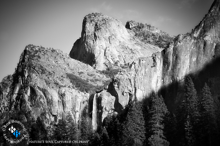 Bridalveil Falls as the shadows of a late afternoon move across the face of the granite walls