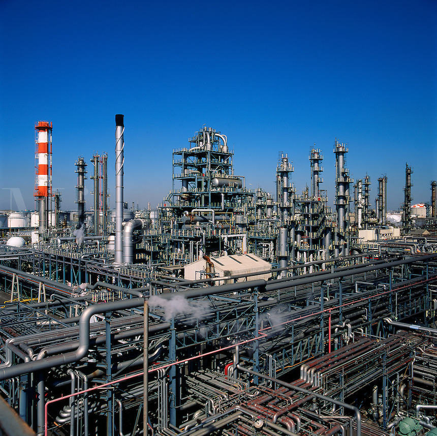 Oil refinery. Section of oil refinery near Tokyo, Japan.