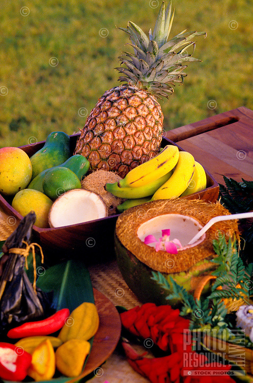 A variety of island fruits