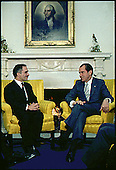 Bilateral meeting in the Oval Office of the White House in Washington, DC between United States President Richard M. Nixon and King Hussein of Jordan on December 8, 1970.<br /> Mandatory Credit: Robert L. Knudsen - White House via CNP