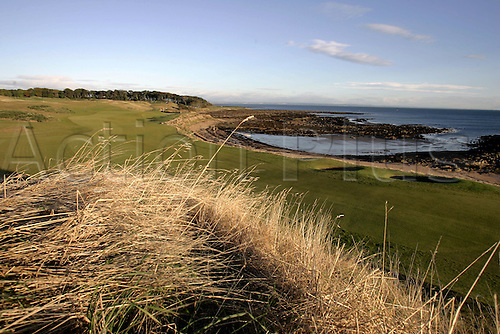 1 October 2005: General view looking back towards the 12th Tee at Kingsbarns Golf Course before play on the third day of the Dunhill Links Championship, St Andrews, Scotland. Photo: Glyn Kirk/Actionplus....051001 venue golf course coastal coast.