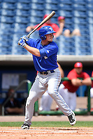 Dunedin Blue Jays outfielder Marcus Knecht (8) during a game against the Clearwater Threshers on April 6, 2014 at Bright House Field in Clearwater, Florida.  Dunedin defeated Clearwater 5-2.  (Mike Janes/Four Seam Images)