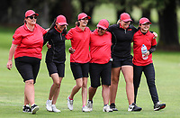 Canterbury players celebrate winning the semi final against North Harbour. Day Four of the Toro Interprovincial Women's Championship, Sherwood Golf Club, Whangarei,  New Zealand. Friday 8 December 2017. Photo: Simon Watts/www.bwmedia.co.nz