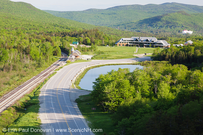 The Appalachian Mountain Club's Highland Center from Elephant Head in Carroll, New Hampshire USA. Elephant Head is a scenic overlook along the Webster-Jackson Trail. The Highland Center occupies the site of the historic Crawford House (1828-1977).