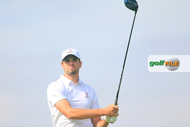 Thomas Anderson (ENG) on the 12th tee during the Home Internationals day 2 foursomes matches supported by Fairstone Financial Management Ltd. at Royal Portrush Golf Club, Portrush, Co.Antrim, Ireland.  13/08/2015.<br /> Picture: Golffile | Fran Caffrey<br /> <br /> <br /> All photo usage must carry mandatory copyright credit (&copy; Golffile | Fran Caffrey)