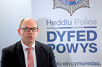 2017 12 08 Press conference for Llangammarch house fire at Cardiff Bay Police Station, Wales, UK