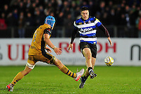 Matt Banahan of Bath Rugby puts boot to ball. Aviva Premiership match, between Bath Rugby and Bristol Rugby on November 18, 2016 at the Recreation Ground in Bath, England. Photo by: Patrick Khachfe / Onside Images