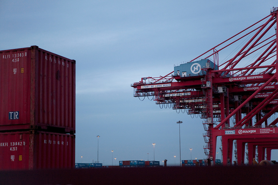 CREDIT: Daryl Peveto/LUCEO for The Wall Street Journal.Exports 2032..Los Angeles, California, March 1, 2010 - A view of shipping containers and cranes at the Port of Long Beach.  A decline in U.S. consumption has left exports short of a good exit strategy. In 2009, imports fell 28%. This has created a bottleneck for exports, which need the shipping containers to move product overseas. ..