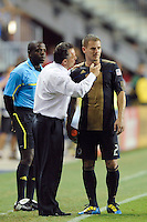 Philadelphia Union manager Peter Nowak talks with Jordan Harvey (2). The Columbus Crew defeated the Philadelphia Union 2-1 during a Major League Soccer (MLS) match at PPL Park in Chester, PA, on August 05, 2010.
