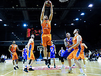 Ruben Te Rangi (Sharks) takes a rebound during the national basketball league final  between Wellington Saints and Southland Sharks at TSB Bank Arena in Wellington, New Zealand on Sunday, 5 August 2018. Photo: Dave Lintott / lintottphoto.co.nz