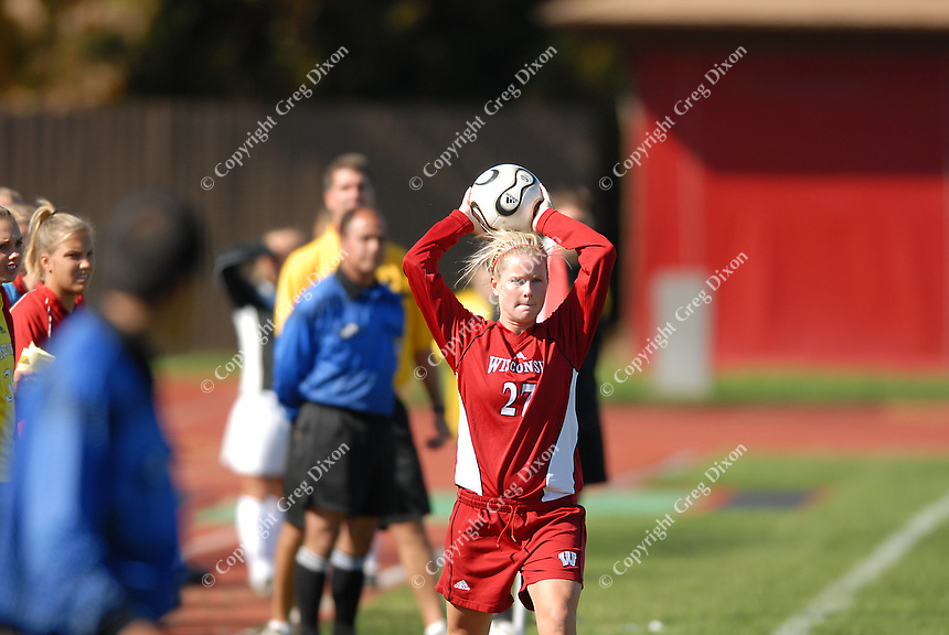 Wisconsin's Lauren Rudzinski thows in the ball versus Iowa at the McClimmon Soccer Complex on Sunday in Madison, as the Badgers win 1-0
