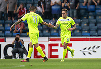 Sammie Szmodics of Colchester United celebrates his goal with Ben Dickenson of Colchester United during the Sky Bet League 2 match between Wycombe Wanderers and Colchester United at Adams Park, High Wycombe, England on 27 August 2016. Photo by Liam McAvoy.