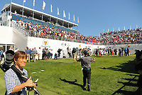 Hideki Matsuyama (JPN) makes his way to the first tee during round 4 Singles of the 2017 President's Cup, Liberty National Golf Club, Jersey City, New Jersey, USA. 10/1/2017. <br /> Picture: Golffile | Ken Murray<br /> <br /> All photo usage must carry mandatory copyright credit (&copy; Golffile | Ken Murray)