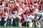 Wisconsin Badgers offensive lineman David Edwards (79), left, and Beau Benzschawel (66) block during an NCAA College Football game against the Florida Atlantic Owls Saturday, September 9, 2017, in Madison, Wis. The Badgers won 31-14. (Photo by David Stluka)