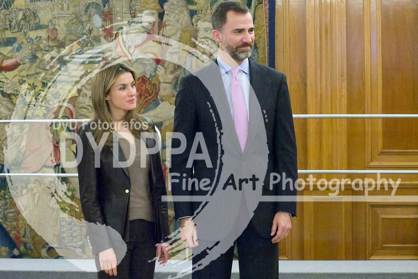 09.01.2013. Zarzuela Palace. Madrid. Spain. Prince Felipe of Spain and Princess Letizia of Sapain attend Hearing with a group of Children Award winners of the Spanish edition of the drawing competition organized on the occasion of 170th anniversary of the creation of the ´work of the Holy Childhood´. In the picture: Prince Felipe and Princess Letizia. (C) Ivan L. Naughty / DyD Fotografos//