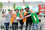 watching the Euro 2016 Match on the Big Screen in the Square Tralee of  Ireland v Belgum on Saturday were l-r  Mark O'Sullivan, Fergal Moriarty, Daniel Curran, Gerard Sands and Georgia Bellis from the