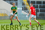 Fiáchra Clifford Kerry in action against James O'Reilly Louth in the All Ireland Minor Football Quarter Finals at O'Moore Park, Portlaoise on Saturday.