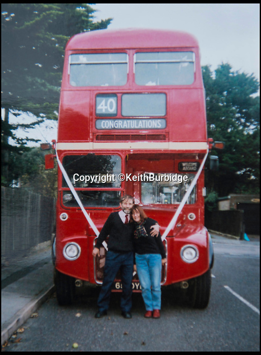BNPS.co.uk (01202 558833)<br /> Pic: KeithBurbidge/BNPS<br /> <br /> Keith Burbidge with his wife Carol celebrate their 40th wedding anniversary.<br /> <br /> Dinky decker...<br /> <br /> A retired bus driver has taken his passion for buses to the next level - by transforming a broken mobility scooter into a quirky mini yellow bus.<br /> <br /> Keith Burbidge, 75, retired as a coach driver last year but missed the mode of public transport so much he decided to make his own miniature version.<br /> <br /> The father-of-two spent just &pound;40 and six months turning a broken scooter he picked up at auction into a working scale-model of a Yellow Bus, the company that operates in his hometown of Bournemouth, Dorset.<br /> <br /> The one-of-a-kind motor is 4ft tall and 6ft long and can only travel at speeds of about 5mph.