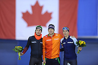SPEED SKATING: CALGARY: Olympic Oval, 08-03-2015, ISU World Championships Allround, Fianl Podium Men, Denis Yuskov (RUS), Sven Kramer (NED), Sverre Lunde Pedersen (NOR), ©foto Martin de Jong