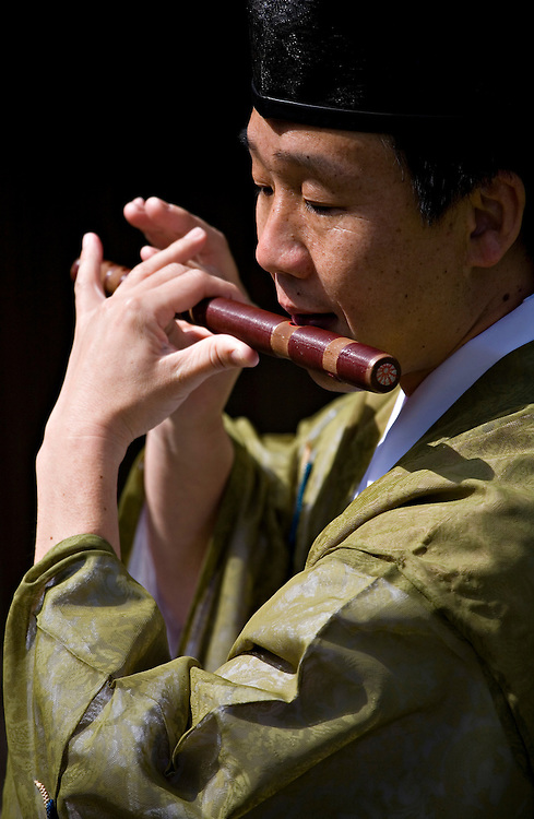 A man plays the yokobue, or traditional Japanese transverse flute