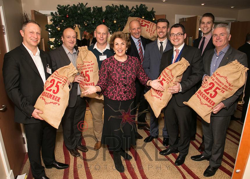 Speaker Edwina Currie with event sponsors - from leftMark Deakin, Turner & Townsend, Paul Judge of Air IT, Ian Roberts of Notts County FC, Anthony Clark of Riverfall Financial, Richard Reed of John Pye, Nic Elliott of Actons, Tom Wallbank of Turner & Towns