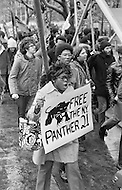 February 1970, Manhattan, New York City, New York State, USA --- American men and women in a demonstration in 1970 demanding that the Black Panther 21 be set free. The Black Panther 21 were leaders of the eastern region of the Black Panther Party who were arrested and charged with conspiracy in 1969 and then aquitted of all charges in 1971. --- Image by © JP Laffont
