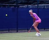 June 12th 2017,  Nottingham, England; WTA Aegon Nottingham Open Tennis Tournament day 1; Yanina Wickmayer of Belgium clenches her fist as she beats Elizaveta Kulichkova of Russia 6-4 6-4