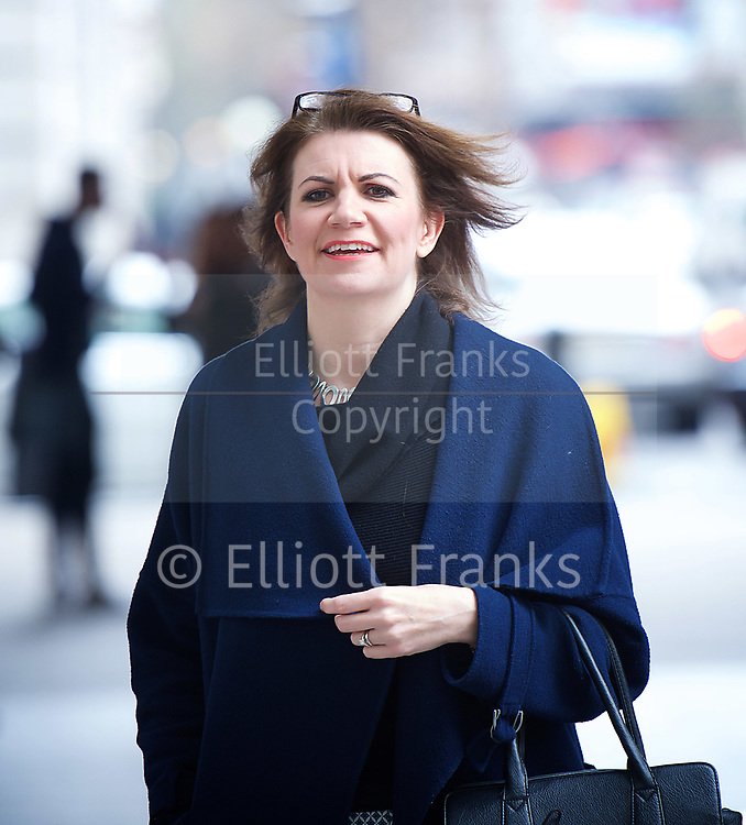 Sunday Politics arrivals <br /> BBC, Broadcasting House, London, Great Britain <br /> 12th March 2017 <br /> <br /> <br /> Julia Hartley-Brewer<br /> arriving for Sunday Politics <br /> <br /> Photograph by Elliott Franks <br /> Image licensed to Elliott Franks Photography Services