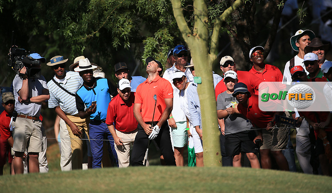 Charl Schwartzel (RSA) the only one unimpressed by the shot to the last from the trees (which landed in a bunker) during Round Three of the 2016 Tshwane Open, played at the Pretoria Country Club, Waterkloof, Pretoria, South Africa.  13/02/2016. Picture: Golffile | David Lloyd<br /> <br /> All photos usage must carry mandatory copyright credit (&copy; Golffile | David Lloyd)