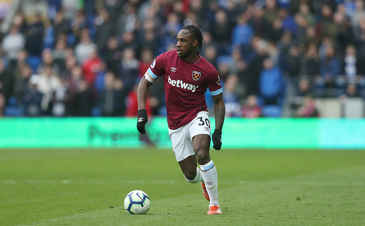 West Ham United's Michail Antonio<br /> <br /> Photographer Rob Newell/CameraSport<br /> <br /> The Premier League - Cardiff City v West Ham United - Saturday 9th March 2019 - Cardiff City Stadium, Cardiff<br /> <br /> World Copyright © 2019 CameraSport. All rights reserved. 43 Linden Ave. Countesthorpe. Leicester. England. LE8 5PG - Tel: +44 (0) 116 277 4147 - admin@camerasport.com - www.camerasport.com
