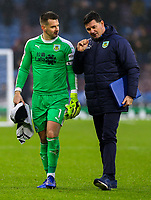 Burnley's Tom Heaton chats with goalkeeping coach Billy Mercer after the first half<br /> <br /> Photographer Alex Dodd/CameraSport<br /> <br /> The Premier League - Burnley v Fulham - Saturday 12th January 2019 - Turf Moor - Burnley<br /> <br /> World Copyright © 2019 CameraSport. All rights reserved. 43 Linden Ave. Countesthorpe. Leicester. England. LE8 5PG - Tel: +44 (0) 116 277 4147 - admin@camerasport.com - www.camerasport.com