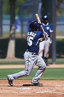 Milwaukee Brewers Brandon Diaz (15) during an instructional league game against the Los Angeles Dodgers on October 13, 2015 at Cameblack Ranch in Glendale, Arizona.  (Mike Janes/Four Seam Images)