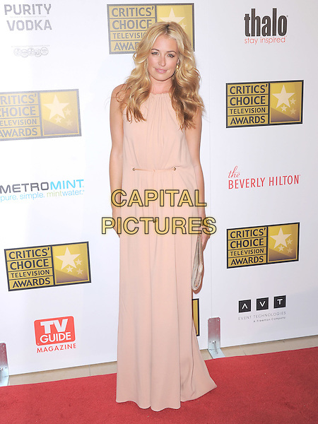 Cat Deeley.The 2nd Annual Critics' Choice Television Awards  held at The Beverly Hilton in Beverly Hills, California, USA..June 18th, 2012.full length dress maxi pink cream beige  .CAP/RKE/DVS.©DVS/RockinExposures/Capital Pictures.
