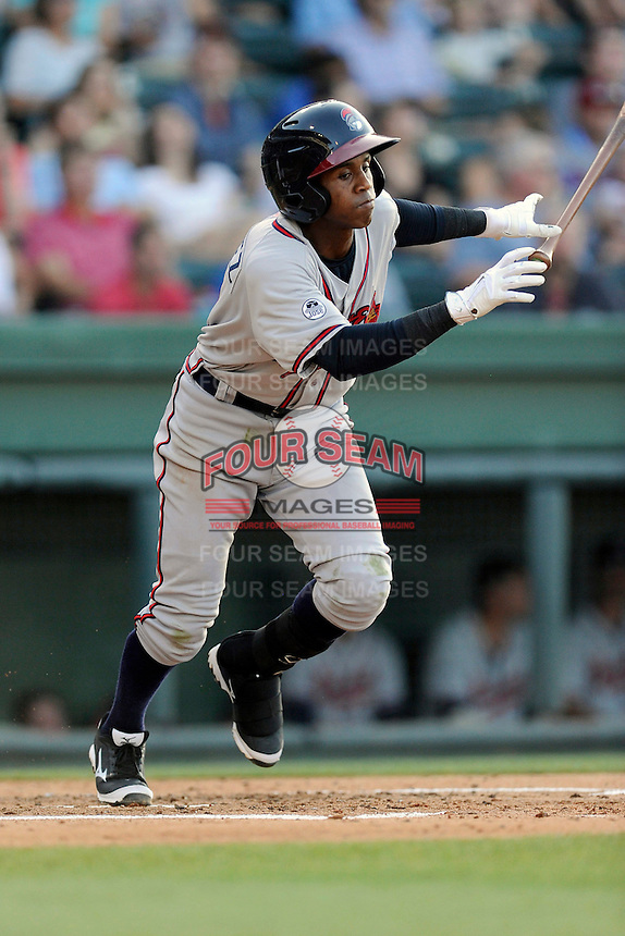 Second baseman Erison Mendez (9) of the Rome Braves bats in a game against the Greenville Drive on Monday, June 15, 2015, at Fluor Field at the West End in Greenville, South Carolina. Greenville won, 9-3. (Tom Priddy/Four Seam Images)