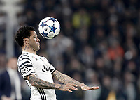 Juventus' Dani Alves heads the ball during the Champions League round of 16 soccer match against Porto at Turin's Juventus Stadium, 14 March 2017. Juventus won 1-0 (3-0 on aggregate) to reach the quarter finals.<br /> UPDATE IMAGES PRESS/Isabella Bonotto