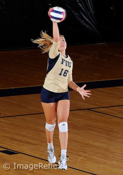 Florida International University women's volleyball player Jovana Bjelica (16) plays against Florida A&M University.  FIU won the match 3-0 on September 11, 2011 at Miami, Florida. .