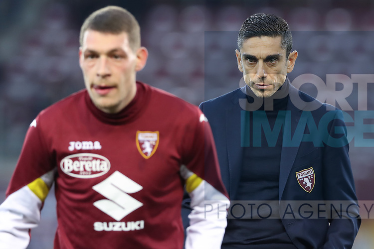 Moreno Longo Head coach of Torino FC looks on as Andrea Belotti of Torino FC wars up in the foreground during the Serie A match at Stadio Grande Torino, Turin. Picture date: 8th February 2020. Picture credit should read: Jonathan Moscrop/Sportimage
