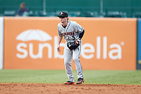 Delmarva Shorebirds shortstop Cadyn Grenier (3) on defense against the Greensboro Grasshoppers at First National Bank Field on August 26, 2018 in Greensboro, North Carolina. The Shorebirds defeated the Grasshoppers 6-4. (Brian Westerholt/Four Seam Images)