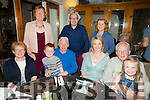 Enjoying a family night out in Bella Bia's on Friday night were front l-r May Shanahan, Jack Shanahan, Jimmy Shanahan, Susan Shanahan, Jimmy Kelly and Caoimhe Shanahan.Back l-r Kathleen Kelly, Brian Shanahan and Ann Shanahan all from Ballyroe