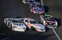 Mar 1, 2008; Las Vegas, NV, USA; Nascar Nationwide Series driver Mark Martin (5) goes low to avoid the crashing cars of Carl Edwards (60) and Brad Keselowski (88) during the Sams Town 300 at the Las Vegas Motor Speedway. Mandatory Credit: Mark J. Rebilas-US PRESSWIRE