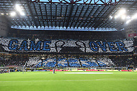 Inter fans show a coreography about the Champions league defeat of Juventus <br /> Milano 27-04-2019 Stadio Giuseppe Meazza <br /> Football Serie A 2018/2019 FC Internazionale - Juventus FC <br /> photo Image Sport / Insidefoto