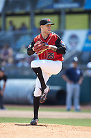Hickory Crawdads relief pitcher Nick Snyder (25) in action against the Charleston RiverDogs at L.P. Frans Stadium on May 13, 2019 in Hickory, North Carolina. The Crawdads defeated the RiverDogs 7-5. (Brian Westerholt/Four Seam Images)