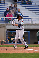 Lake County Captains first baseman Miguel Jerez (36) during a Midwest League game against the Beloit Snappers at Pohlman Field on May 6, 2019 in Beloit, Wisconsin. Lake County defeated Beloit 9-1. (Zachary Lucy/Four Seam Images)